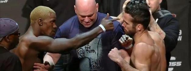Clima quente: Melvin Guillard aponta o dedo para Jamie Varner em encarada.