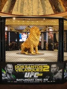 Octógono montado na entrada do MGM, em Las Vegas (Foto: Marcelo Russio/SporTV.com)