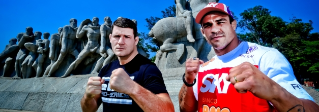 Vitor Belfort e o britânico Michael Bisping medem forças no combate principal do UFC São Paulo. (Foto: reprodução)