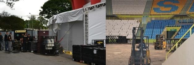 Estrutura do show começa a ser montado no Ibirapuera, em SP (Foto: Adriano Albuquerque/SporTV.com)
