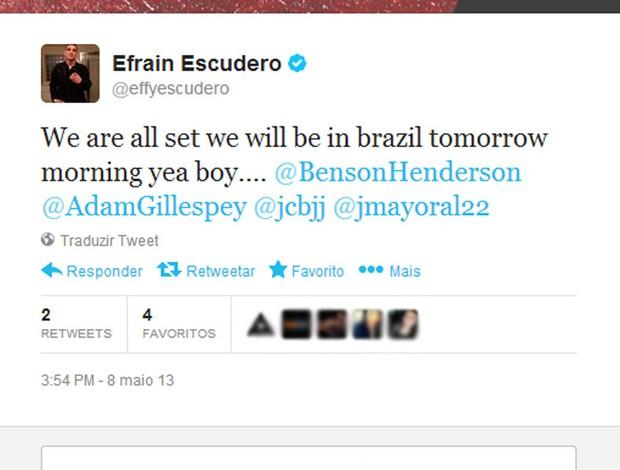 Efrain Escudero posta no Twitter a retirada do visto para entrada no Brasil (Foto: Reprodução / Twitter)