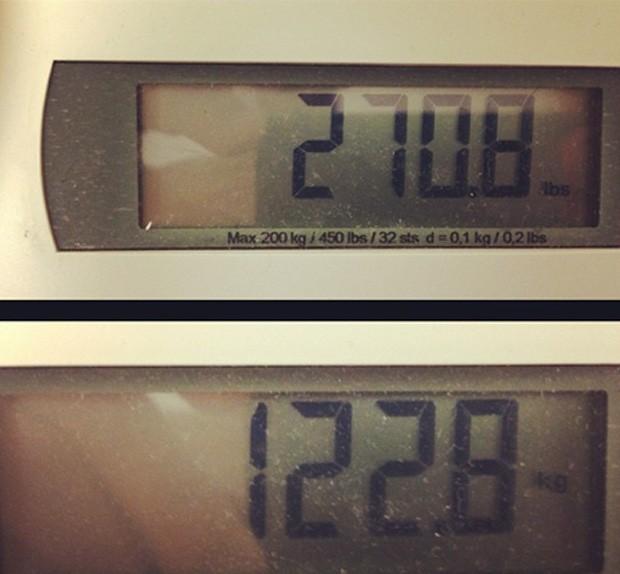 Registro do peso divulgado por Antônio Pezão nesta sexta-feira (Foto: Instagram)