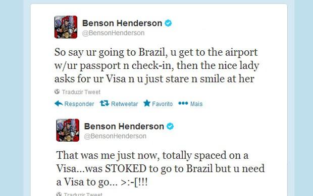 Bendo mostra sua surpresa pela necessidade de visto para embarcar para o Brasil (Reprodução: Twitter)